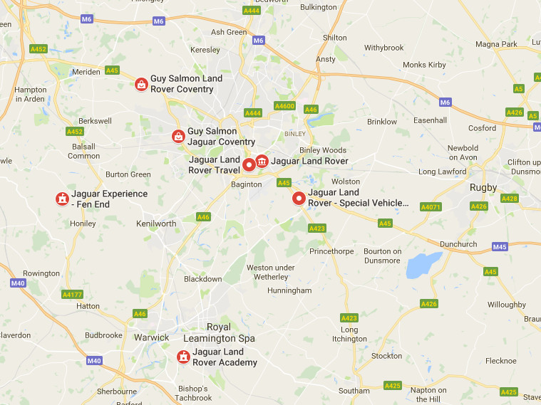 Jaguar Land Rover sites in Coventry