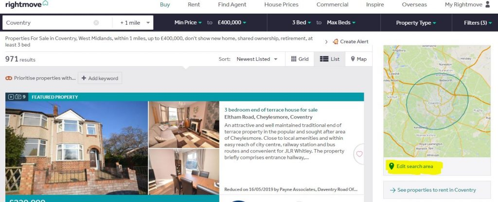 rightmove specific search.